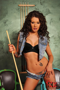 Becky Holt Strips Her Denim Hotpants And Top 05