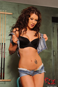 Becky Holt Strips Her Denim Hotpants And Top 07