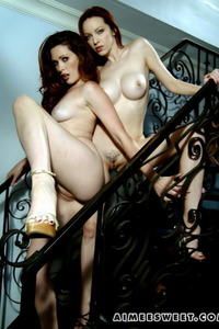 Aimee And Her Girlfriend Naked On Stairs 16