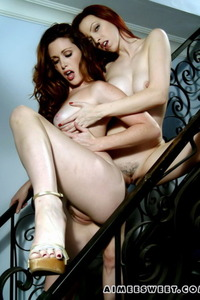 Aimee And Her Girlfriend Naked On Stairs 17