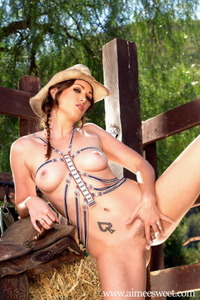 Aimee Sweet Posing In Hat And Boots 14