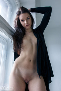 Skinny Raven Teen Strips And Shows Her Perky Tits 06