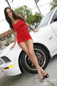 Angelina Valentine Flashes Her Pussy In Red Dress 01