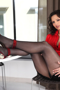 Eve Angel Black Pantyhose And Red Heels 01