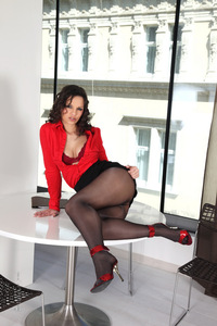 Eve Angel Black Pantyhose And Red Heels 06