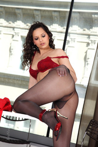 Eve Angel Black Pantyhose And Red Heels 10