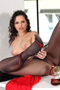 Eve Angel Black Pantyhose And Red Heels 15