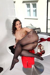 Eve Angel Black Pantyhose And Red Heels 16