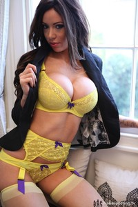 Amazing Busty Babe Adele In Yellow Lingerie 00