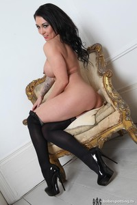 Busty Kelly Carter Posing In Black Stockings 02
