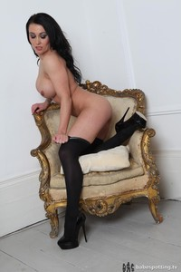 Busty Kelly Carter Posing In Black Stockings 03