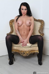 Busty Kelly Carter Posing In Black Stockings 11