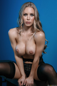 Busty Babe Nicole Aniston In Hot Black Stockings 03