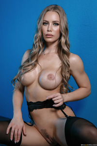 Busty Babe Nicole Aniston In Hot Black Stockings 11