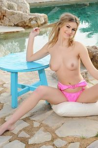 Summer Claire Stripping Her Pink Bikini By The Pool 13