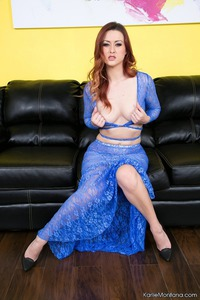 Karlie Montana In Blue Lace Dress 01
