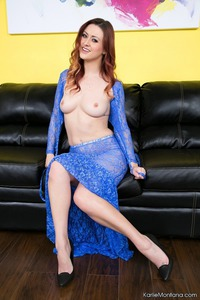 Karlie Montana In Blue Lace Dress 04