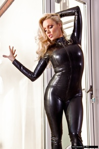 Dannii Harwood Black Leather Outfit 00