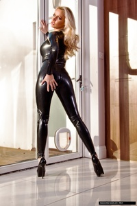 Dannii Harwood Black Leather Outfit 02