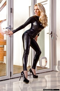Dannii Harwood Black Leather Outfit 03