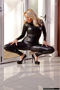 Dannii Harwood Black Leather Outfit 06