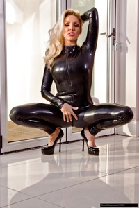 Dannii Harwood Black Leather Outfit 07