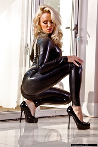 Dannii Harwood Black Leather Outfit 08