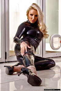 Dannii Harwood Black Leather Outfit 12
