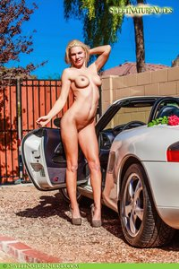 Christine Posing Naked By A Car 02
