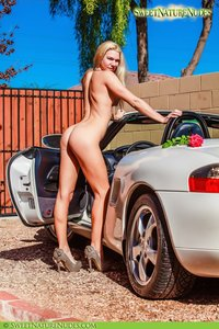 Christine Posing Naked By A Car 05