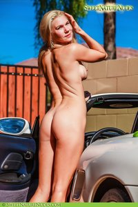 Christine Posing Naked By A Car 06