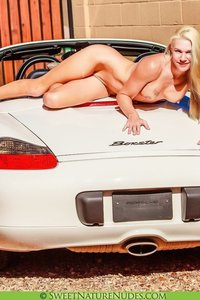 Christine Posing Naked By A Car 10