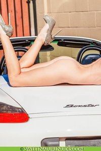 Christine Posing Naked By A Car 11