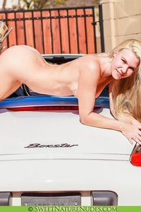 Christine Posing Naked By A Car 12