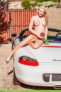 Christine Posing Naked By A Car 13