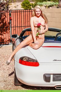 Christine Posing Naked By A Car 14