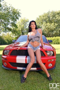Lucy Li Posing With Red Car And Huge Boobs  03