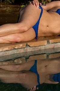 Lovely Blonde Mia Malkova Drops Her Blue Bikini In The Pool 14