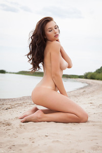 Brunette Model Niemira Getting Nude On The Beach 15
