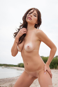 Brunette Model Niemira Getting Nude On The Beach 19
