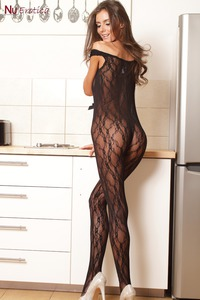 Sunshine In Sexy Black Lace Bodystocking 01