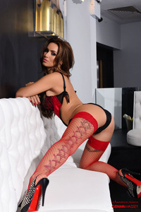 Gemma Massey Shines In Black-red 06