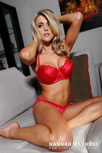 Amazing Blond Babe Hannah May Rose In Red Lingerie 02
