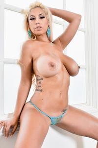 Busty Bridgette Strips Off Her Sexy Blue Bikini 08