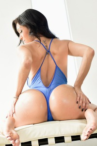 Hot Latina Samia Duarte In Sexy Blue Lingerie 09