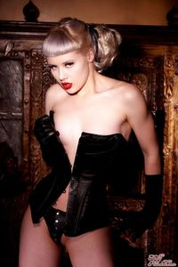 Glamour Blonde Mosh In Black Gloves And Corset 05