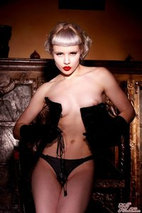 Glamour Blonde Mosh In Black Gloves And Corset 06