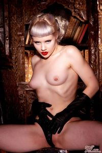 Glamour Blonde Mosh In Black Gloves And Corset 08