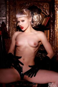 Glamour Blonde Mosh In Black Gloves And Corset 14