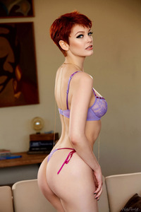 Bree Daniels Sexy Redhead Babe Strips Out Of Her Purple Lingerie 01